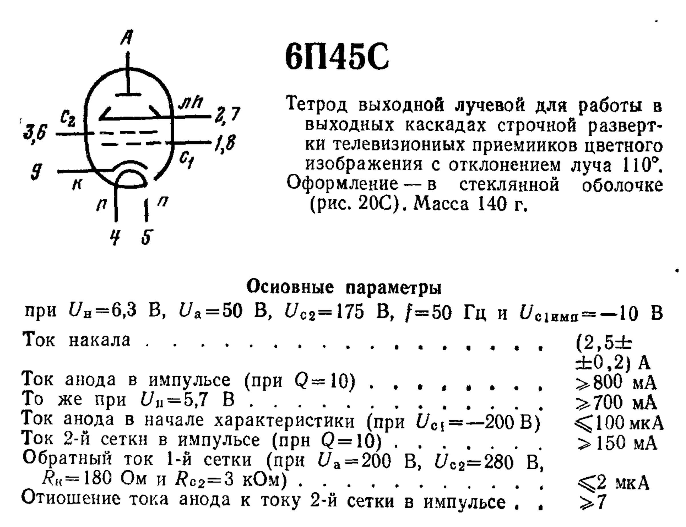 Параметры радиолампы 6П45С