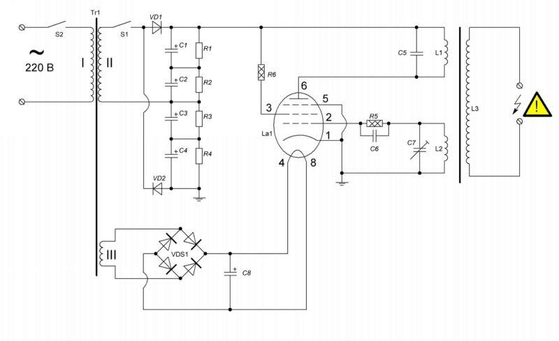 Схема электрическая принципиальная высоковольтного генератора