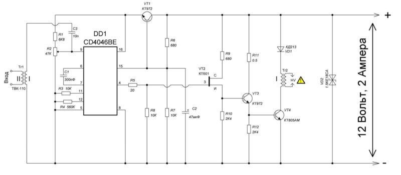 Схема электрическая принципиальная ионофона на CD4046BE