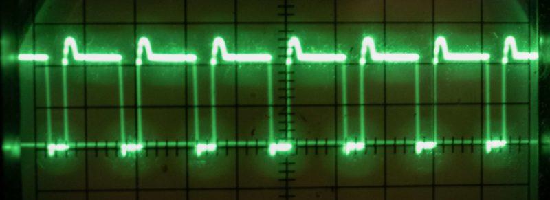 Осциллограмма в контрольной точке при настройке ионофона