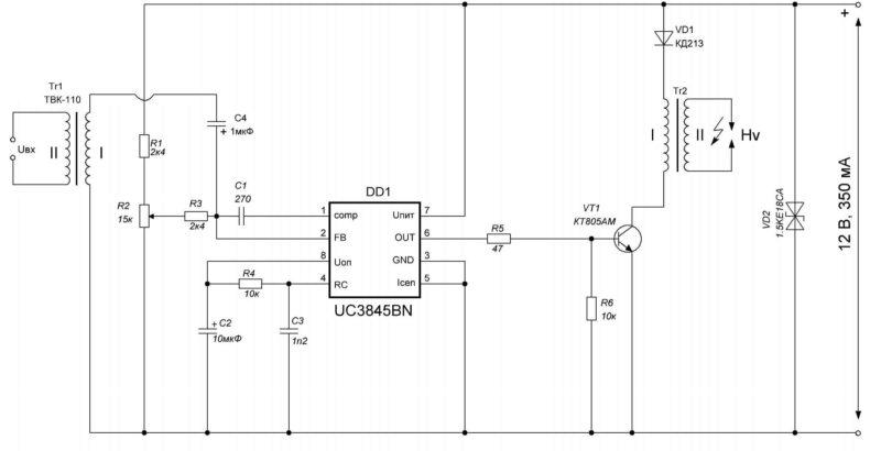 Схема электрическая принципиальная ионофона на UC3845BN