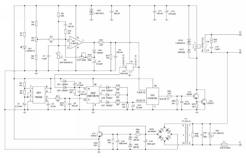 Схема электрическая принципиальная термостата