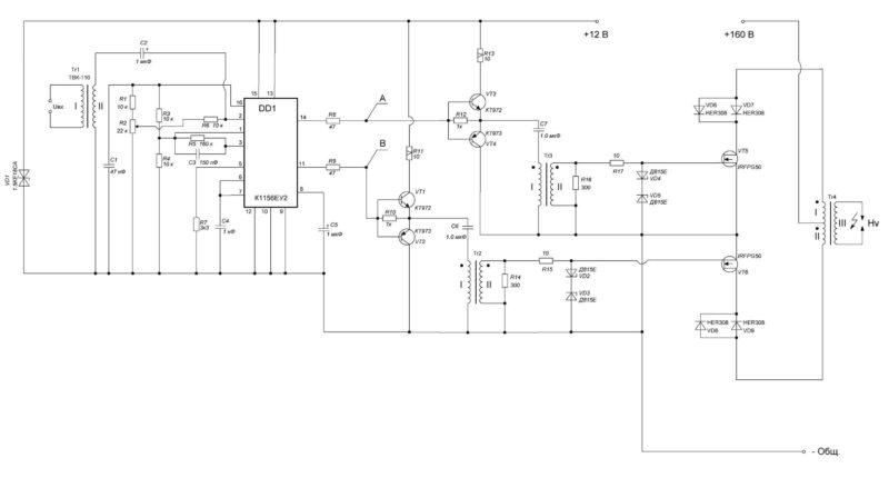 Схема электрическая принципиальная ионофона на К1156ЕУ2