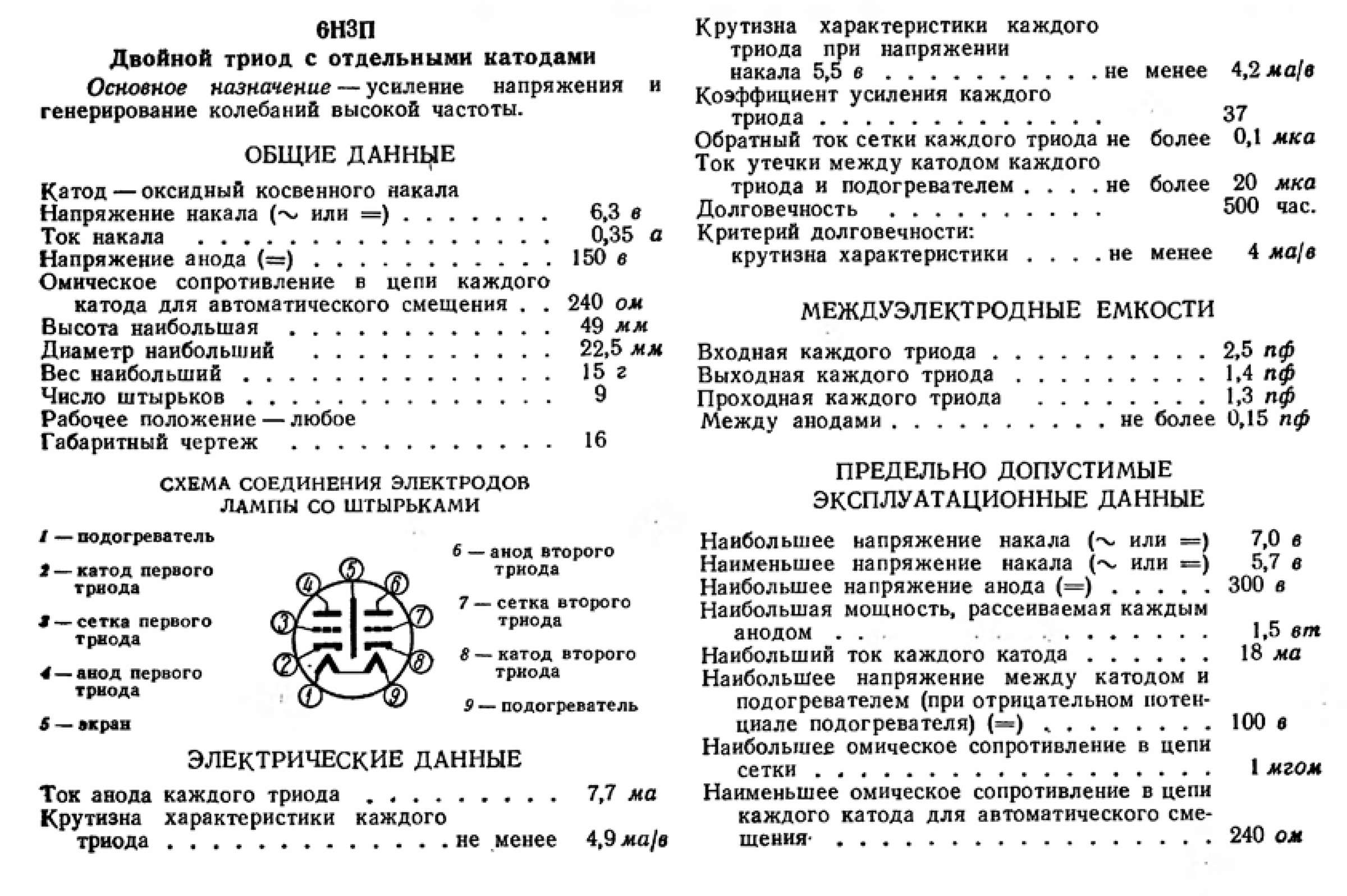Параметры радиолампы 6Н3П