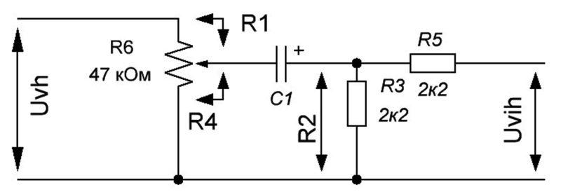 Схема электрическая принципиальная регулятора громкости